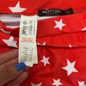Nasty Gal Swim - Nasty Gal Red & White Stars Swim Suit Bottom Sz 6